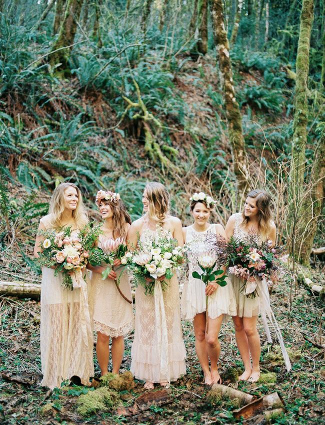 Styling Ideas For Boho Bridesmaids Green Wedding Shoes Boho Bridesmaid Bridesmaid Cream Bridesmaid Dresses