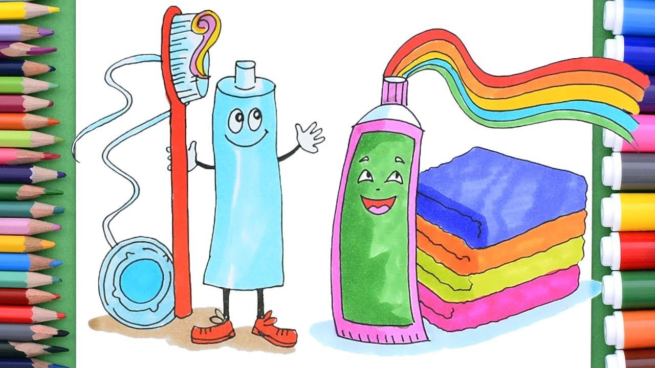 Toothpaste Toothbrush And Dental Floss Coloring Pages Art Colors For Kids Coloring For Kids Drawing For Kids Dental Floss