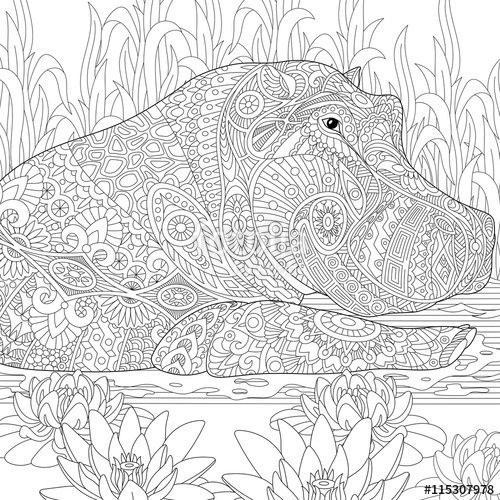 Pin von Barbara auf coloring hippo, rhino | Pinterest