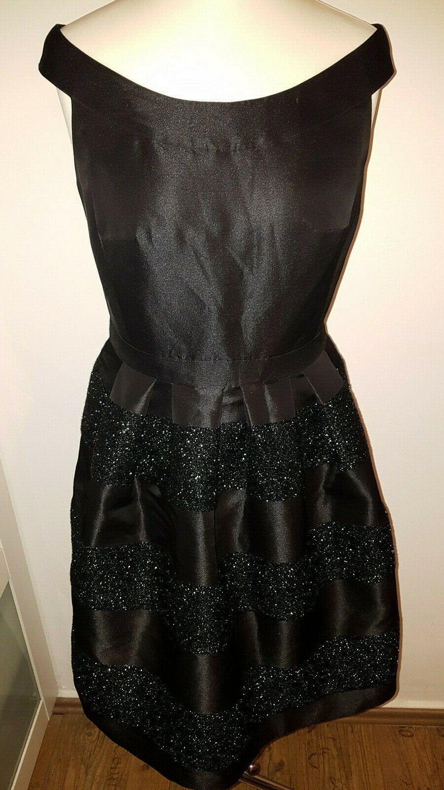 ESPRIT Abendkleid Cocktailkleid schwarz Glitzer-Optik Damen Gr. 18