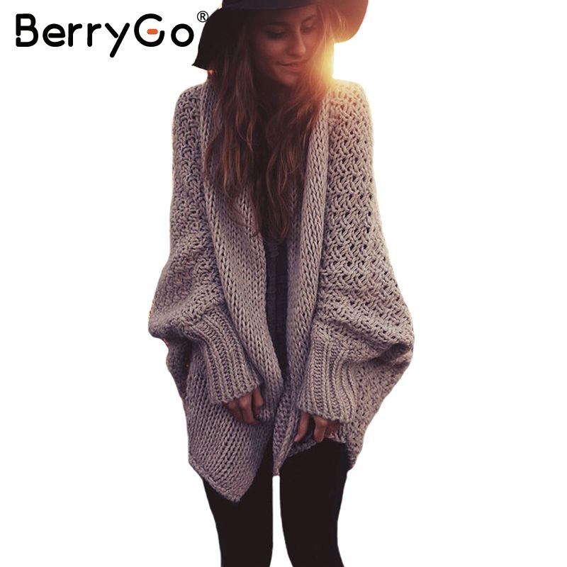 BerryGo batwing sleeve knitted cardigan sweaters women Fashion ...