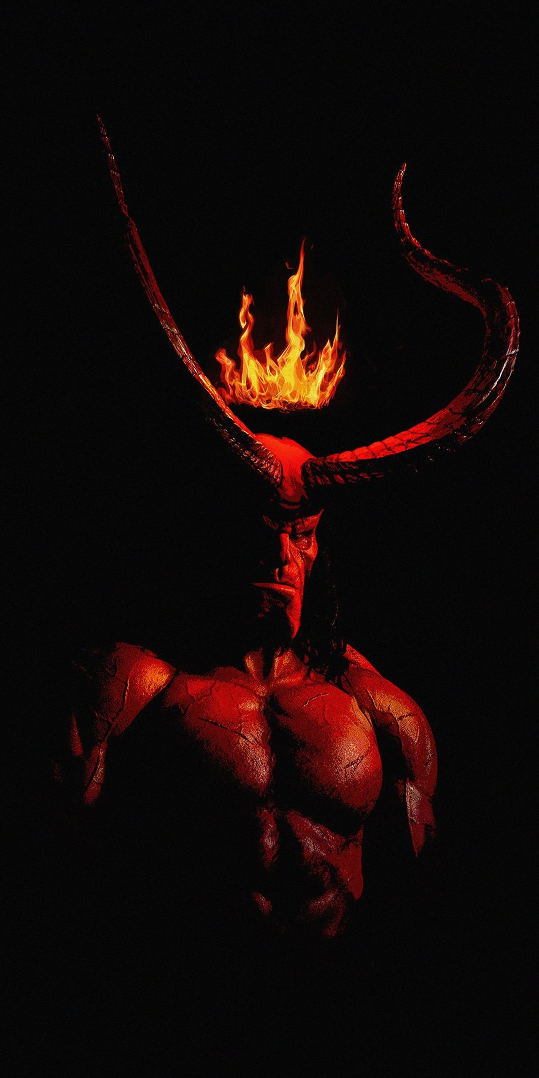 Hellboy 2019 Movie Horns Fire Crown Poster Wallpaper Hellboy Wallpaper Hellboy Art Gothic Wallpaper