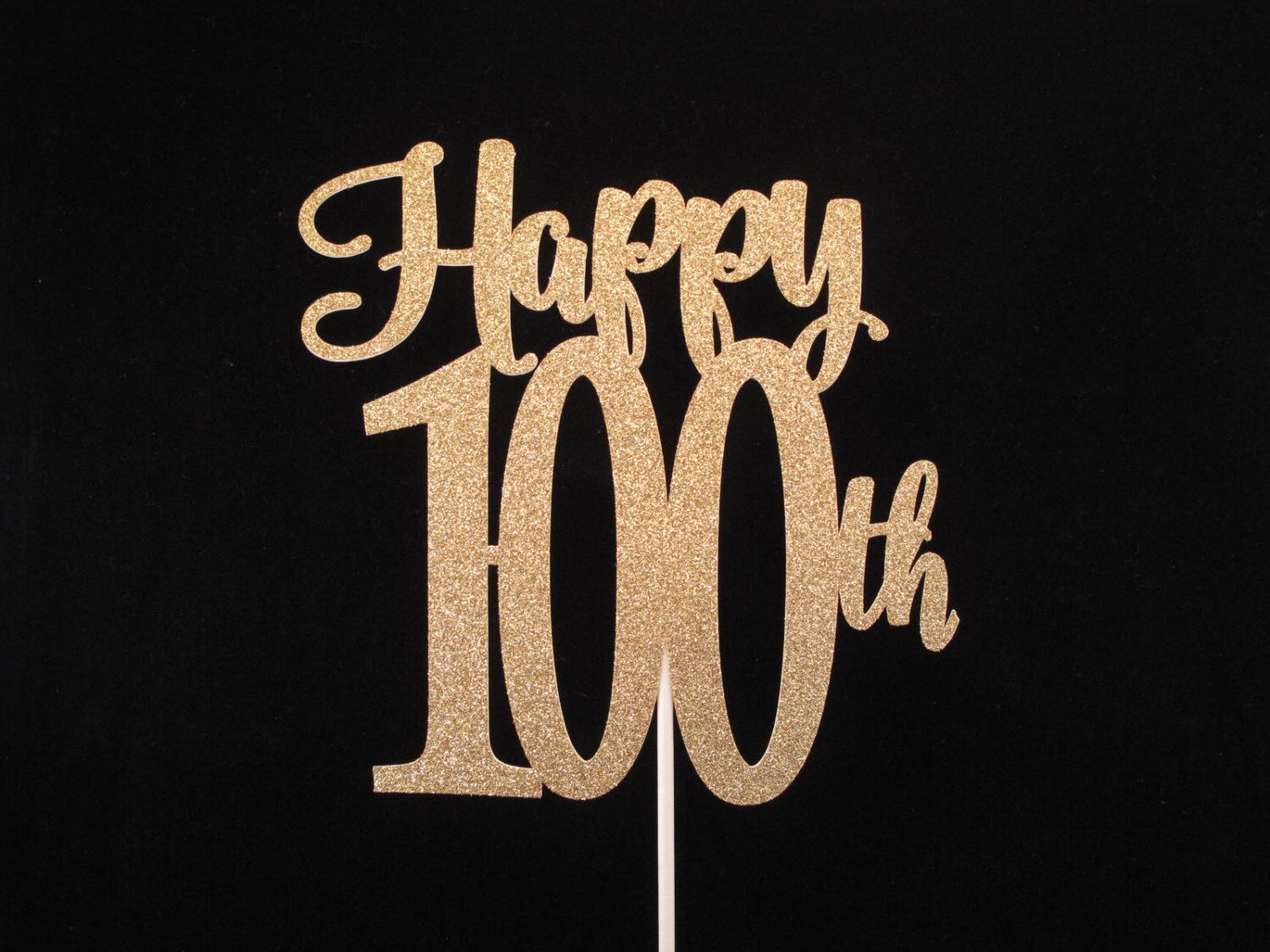 100th Birthday Cake Topper Gold Glitter 100 Happy