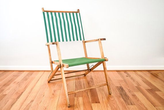 Deck Chair, Outdoor Chair, Lawn Chair, Classic Reclining Deck Chair W/  Armrests, Vintage Frame W/ Updated Green Striped Canvas, Vintage