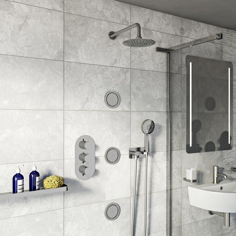 Mode Spa Complete Round Thermostatic Triple Shower Valve With