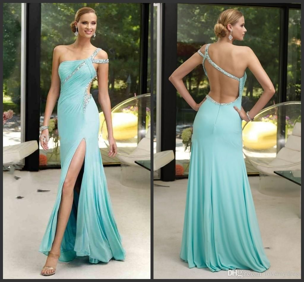 Split Evening Dres Long Crystals Sequin Beading Sparked Backless ...