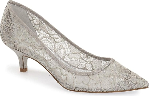 d69c9f2884a Adrianna Papell Women s Shoes in Silver Lace Color. Glitter-flecked diamond  mesh adds to the allure of an exquisite pointy-toe pump set on a demure  kitten ...