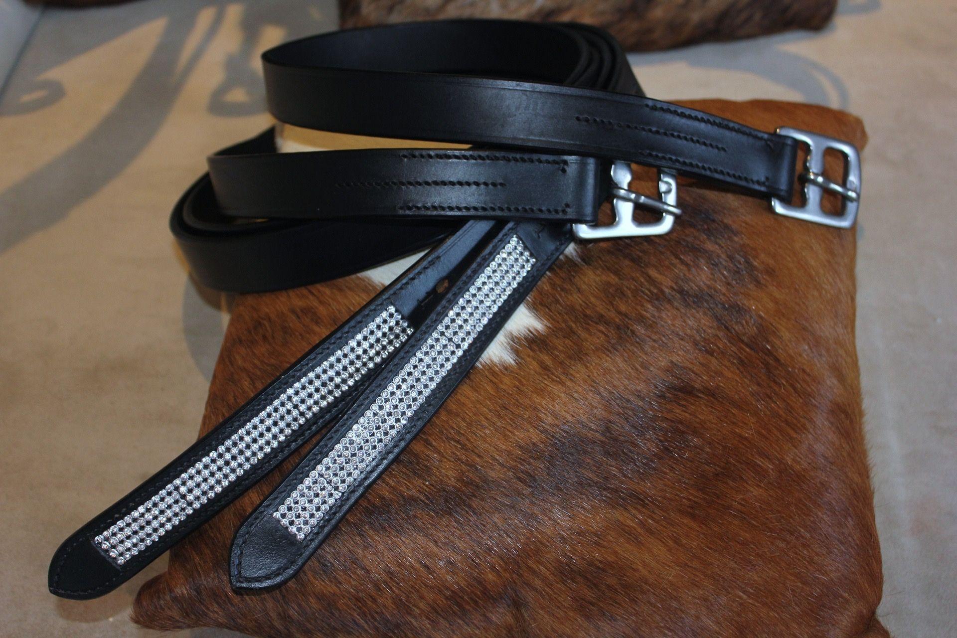 Bling Black Leather Stirrup leathers $49.95 plus $7.50 post. www.northcoasttackshop.com