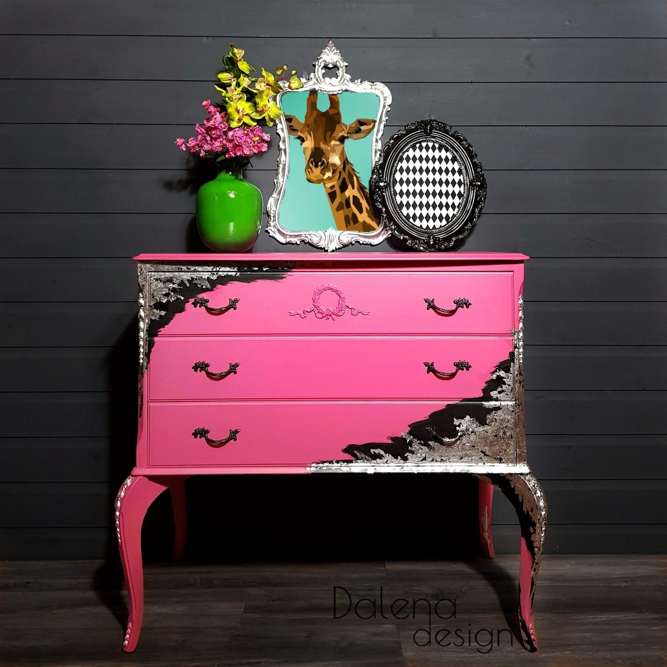 Hot pink chest of drawers with silver leaf pink furniture