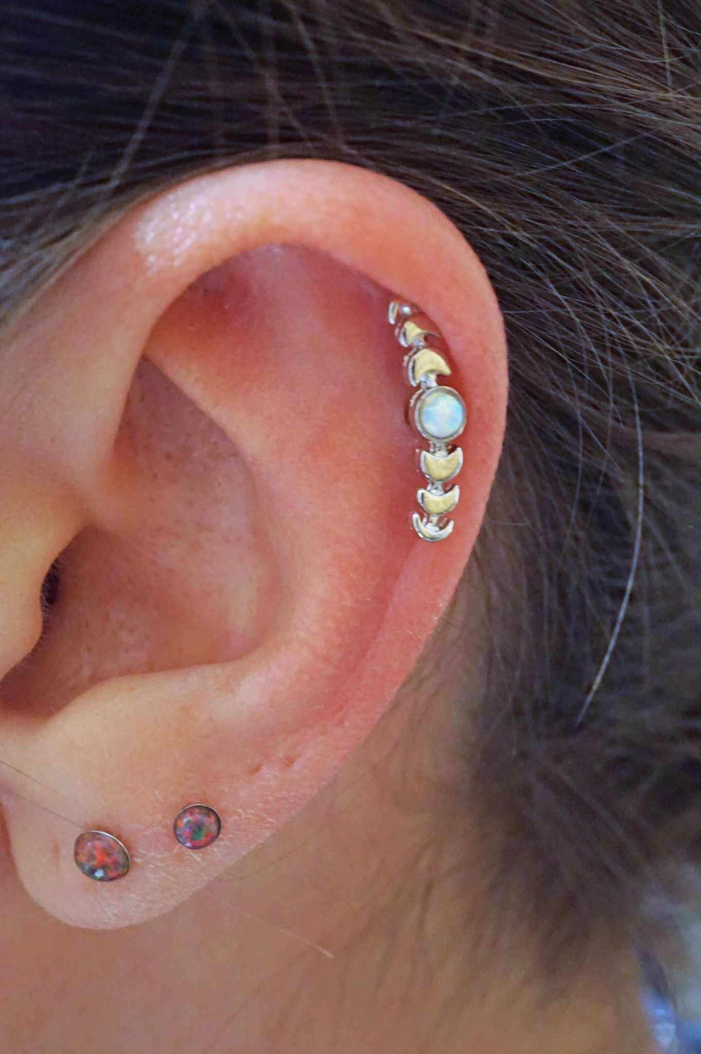 White Fire Opal Moon Stud Cartilage Earring, Tragus Or Helix Piercing 316l  Surgical Steel