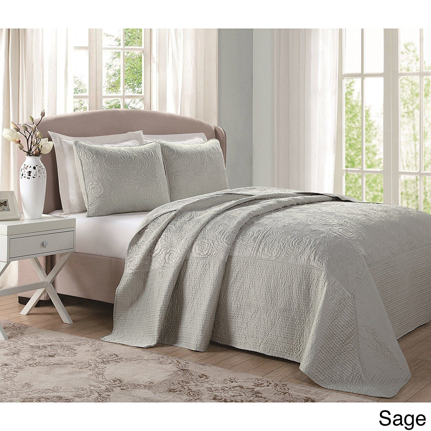 110 X 90 Oversized Sage Full Bedspread Floor Extra Long Floral