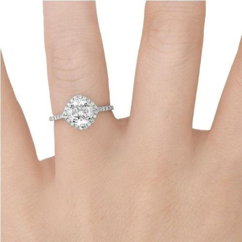 030ct 14k White Gold Kite Style Halo Accent Diamond Engagement Ring
