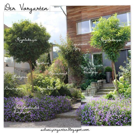 vorgarten gestaltung rozanne annabelle hortensien kugelakazie holzhaus hanglage kiesplatz. Black Bedroom Furniture Sets. Home Design Ideas