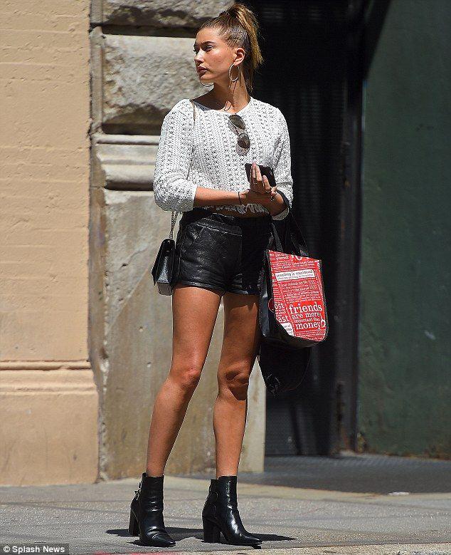 0c0d1b8b2 Leggy lady: Hailey Baldwin showcased her very long and slender legs in New  York City on Friday