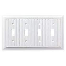 Brainerd Beadboard 4 Gang Pure White Quad Toggle Wall Plate W17999