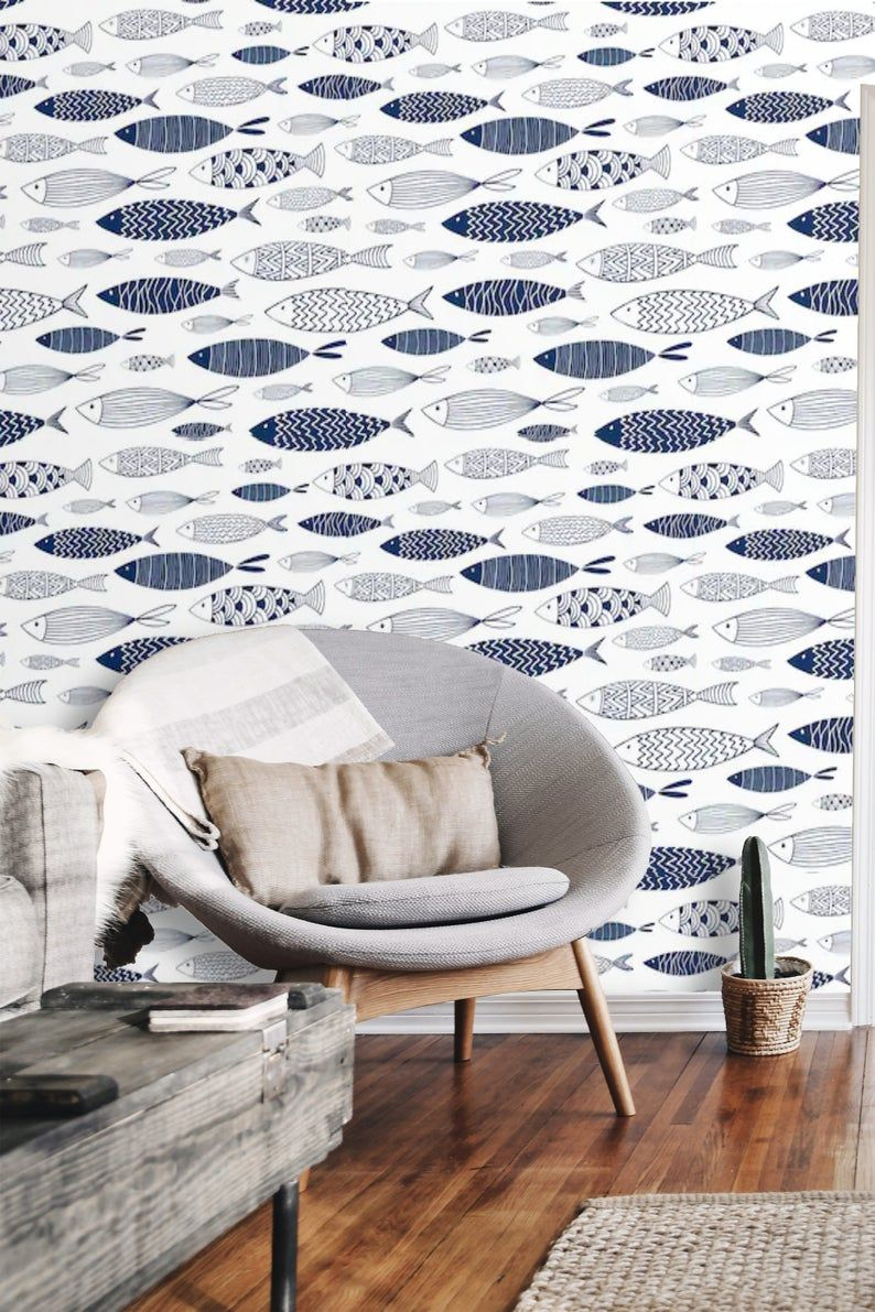 Nautical Wallpaper Peel And Stick Wallpaper Fish Wall Mural Etsy In 2020 Nautical Wallpaper Vinyl Wallpaper Peel And Stick Wallpaper