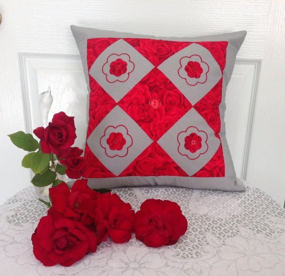 Red Roses Patchwork Cushion Cover Size 16 by by AddaSplashofColour