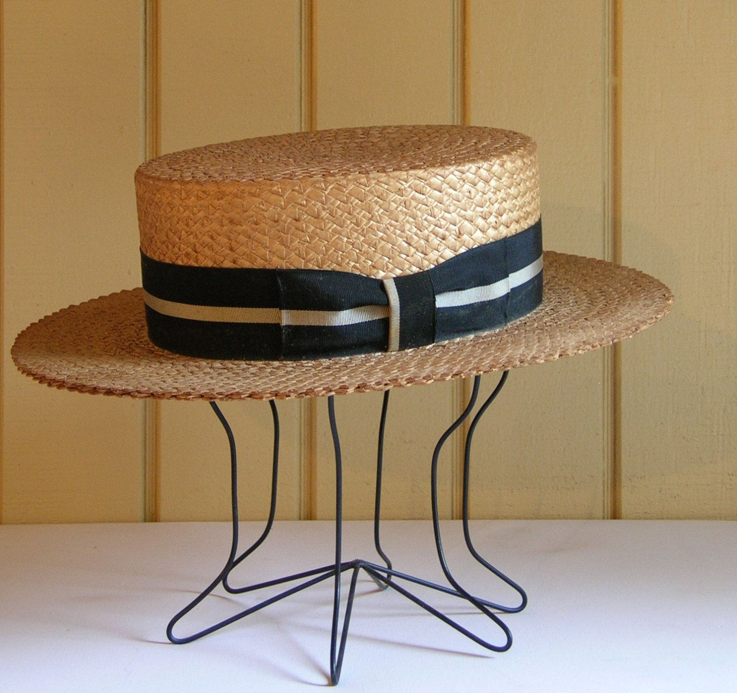 1671de88a605a Vintage Early 1900 s Men s Boater Straw Boater Hat Mens