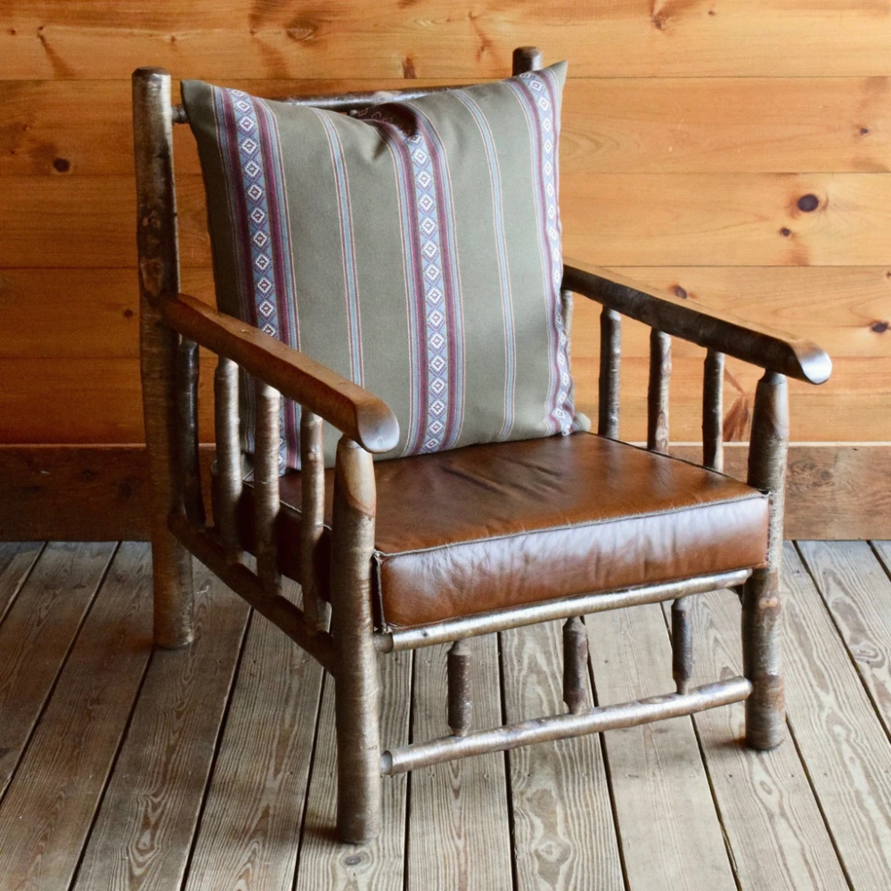 East Hill Yellow Birch Club Chair in Sage Stripe | Dartbrook Signature Collection