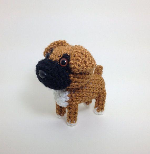 Boxer perro Amigurumi Crochet perro hecha a mano rellena muñeca ...