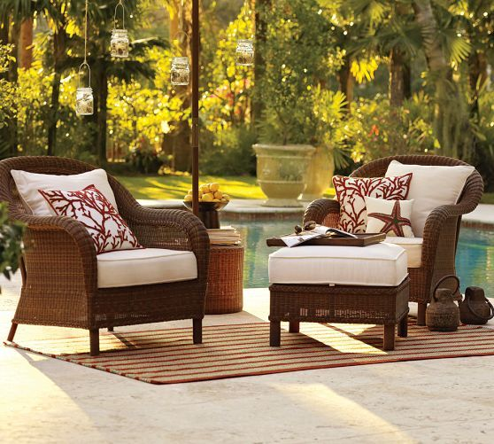 Palmetto All Weather Wicker Lounge Chair Honey Backyard Patio