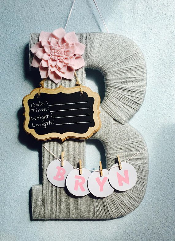 Baby Girl Birth Announcement Hospital Door Hanger Yarn