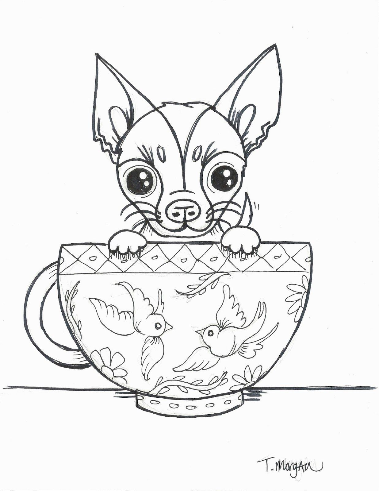 The Lost Sock April 2018 Dog Coloring Book Dog Coloring Page Chihuahua Drawing [ 1600 x 1236 Pixel ]