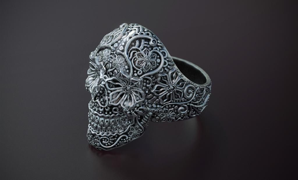 Sugar Skull Ring Modeled In Zbrush Rendered In Keyshot By