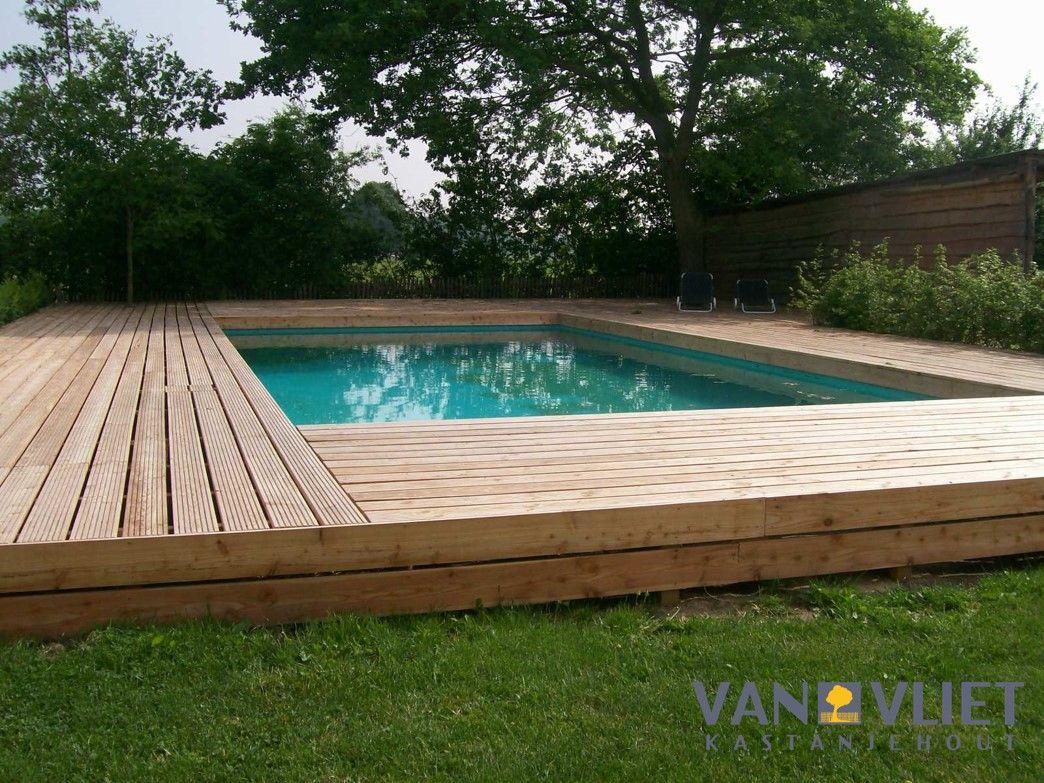Zwembad met douglas geprofileerde vlonderplanken for Zwembad houtlook