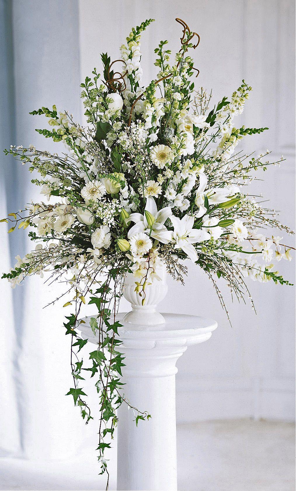 Ceremony flowersclassic altar arrangement weddings