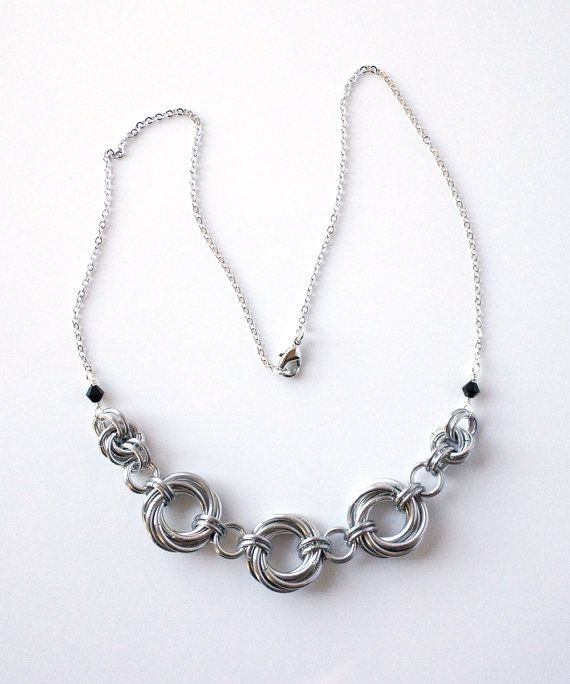 Mobius Chainmaille Statement Necklace - Lightweight Aluminum w/ Rhodium Plated Chain