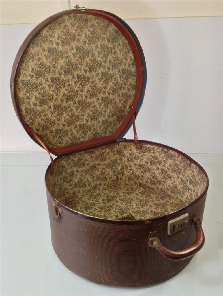 Vintage Retro Deco 40s 50s Hat Box Luggage Suitcase Fordite Floral Lining Shabby 75 Vintage Hat Boxes Antique Hats Victorian Hats