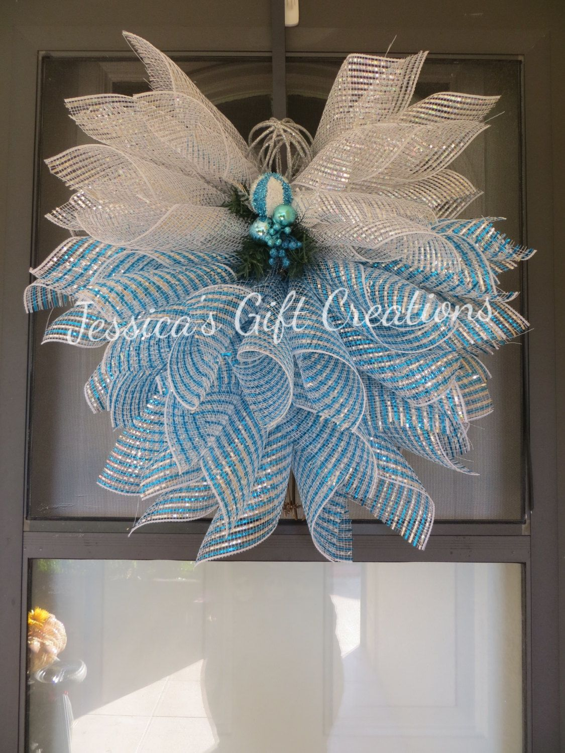 Beautiful Christmas Deco Mesh Angel Blue And Silver Angel