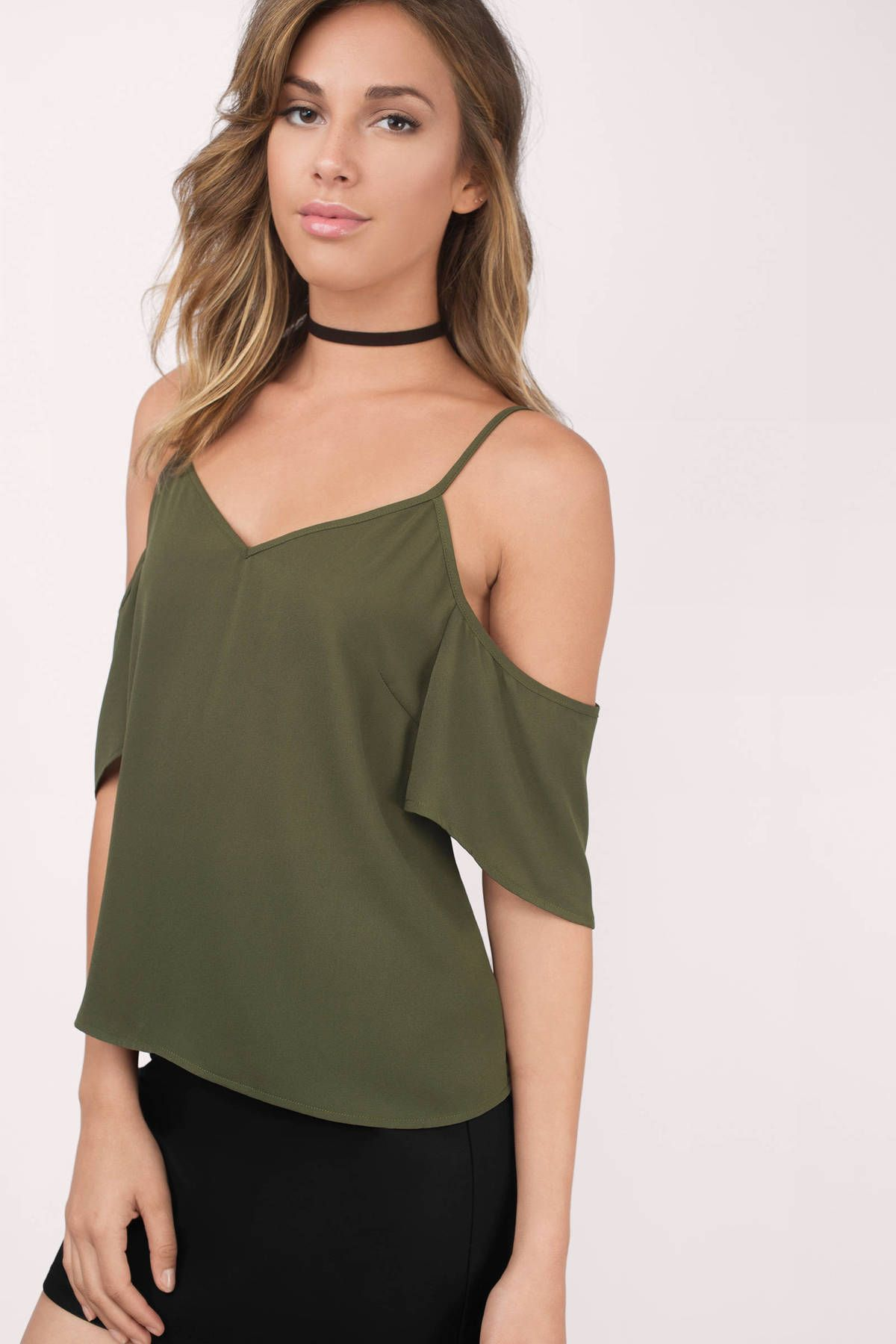 Amberly cold shoulder top cutout shoulder top frilly