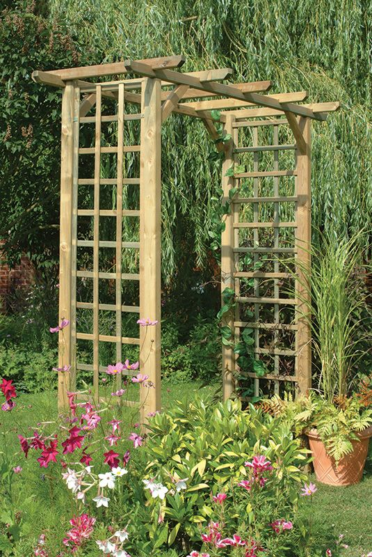 Classic Arch This simple square garden arch features trellis