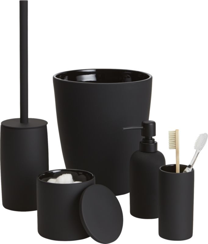 Rubber coated black bath accessories black rubber - Modern bathroom accessories sets ...
