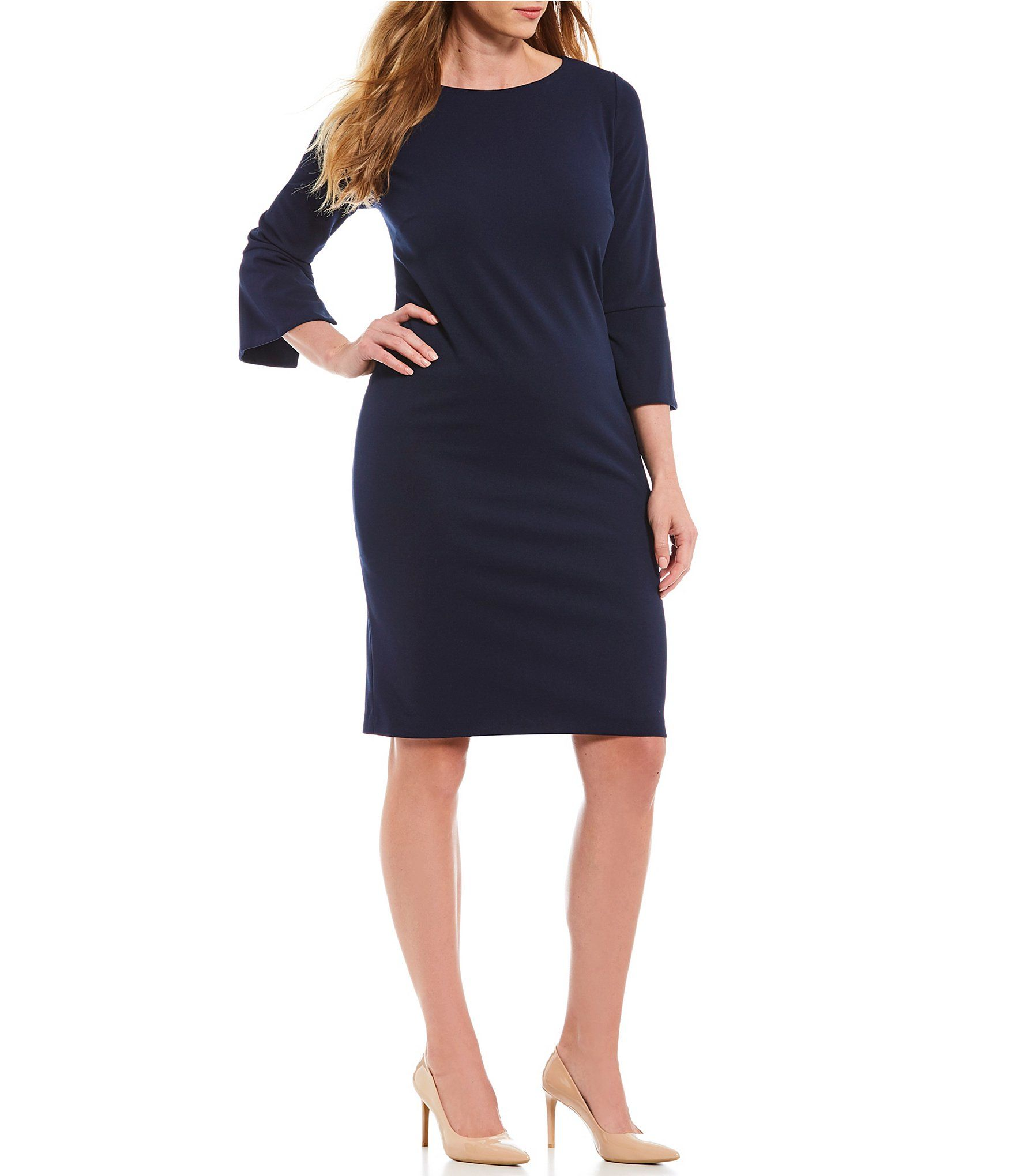 Calvin Klein Plus Size 3/4 Sleeve Solid Sheath Dress ...