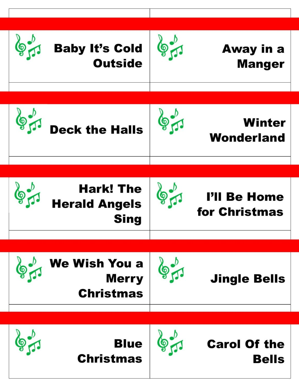 Printable Christmas Carol Game Cards for Pictionary or ...
