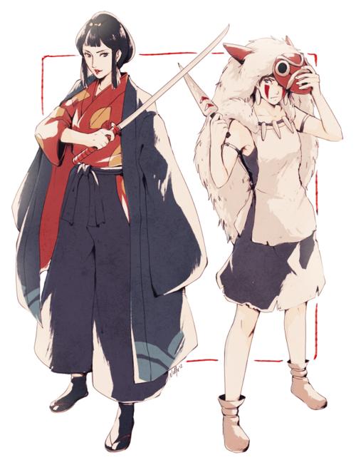 Lady Eboshi And Princess Mononoke Studio Ghibli Art Studio