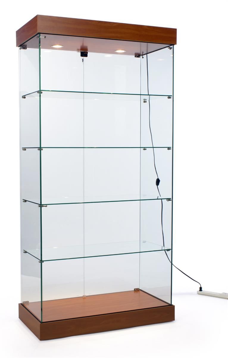 36 W Display Case With 4 Fixed Shelves Wheels Frameless Ships Unassembled Cherry Shelves Tempered Glass Shelves Glass Shelves