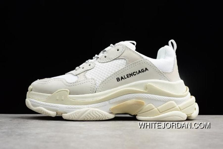 Mens And Womens Balenciaga Triple S Sneaker Creme White Dad