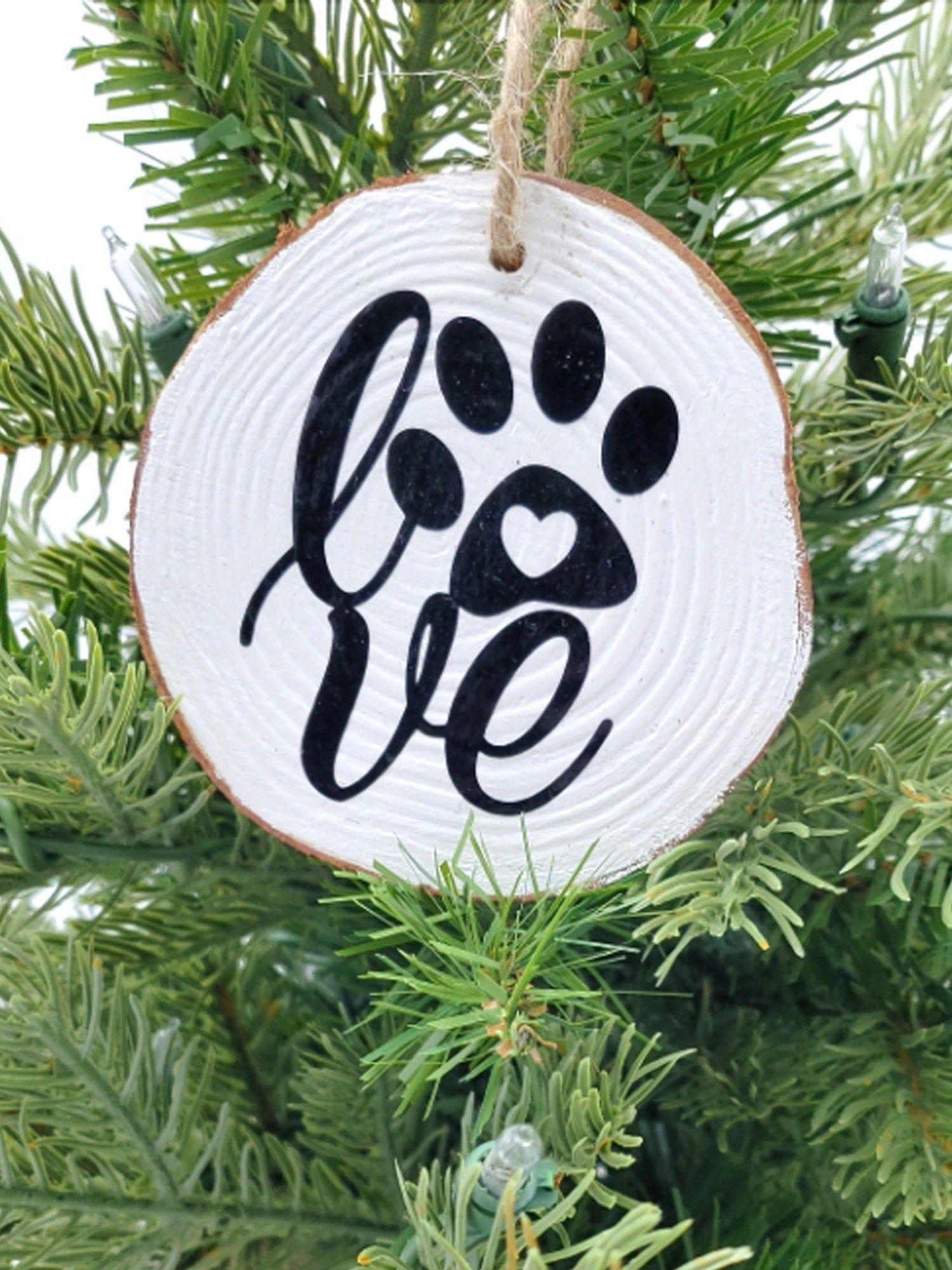 Love Paw Print Ornament Wood Slice Ornament Dog Ornament Etsy Paw Print Ornament Wood Slice Ornament Dog Ornaments