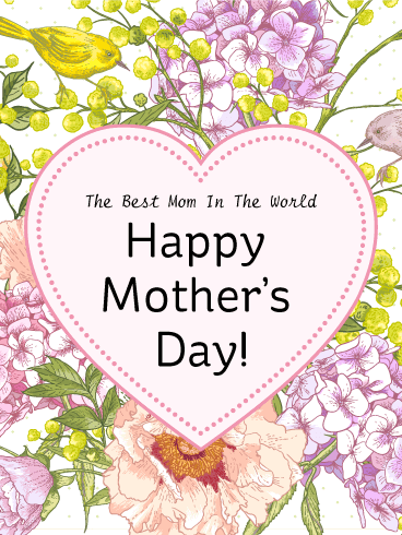 Heart Flower Happy Mother S Day Card This Splendid Mother S Day Card Features A Clas Happy Mother S Day Greetings Happy Mother S Day Card Mother Day Message