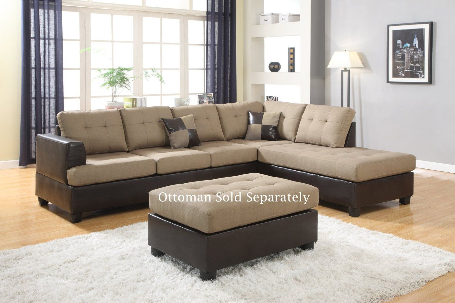 Amazon Com Ellus Beige Fabric And Faux Leather 2 Piece Reversible Sectional Sofa Kitchen Dining Sectional Sofa Sectional Sofa Couch Sectional Sofa Sale