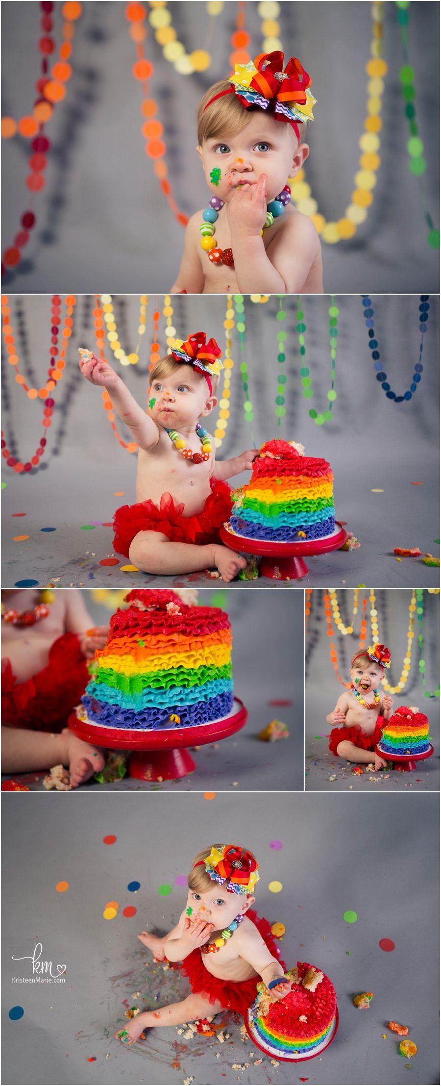 Rainbow Baby 1st Birthday Cake Smash Rainbow First Birthday Birthday Cake Smash Rainbow Baby Birthday