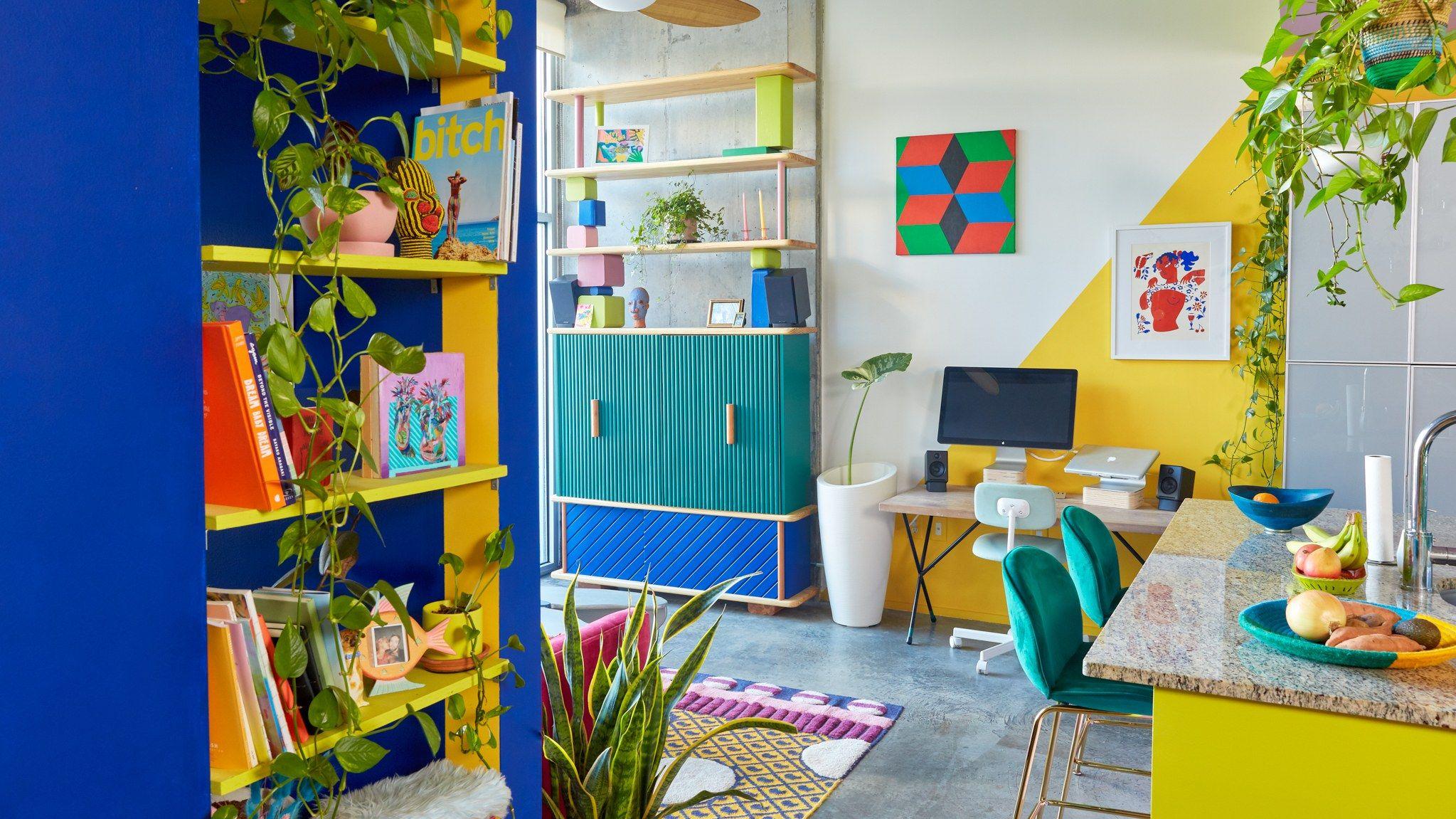 A Creative Couple's Super Colorful Atlanta Condo #indoorpaintcolors