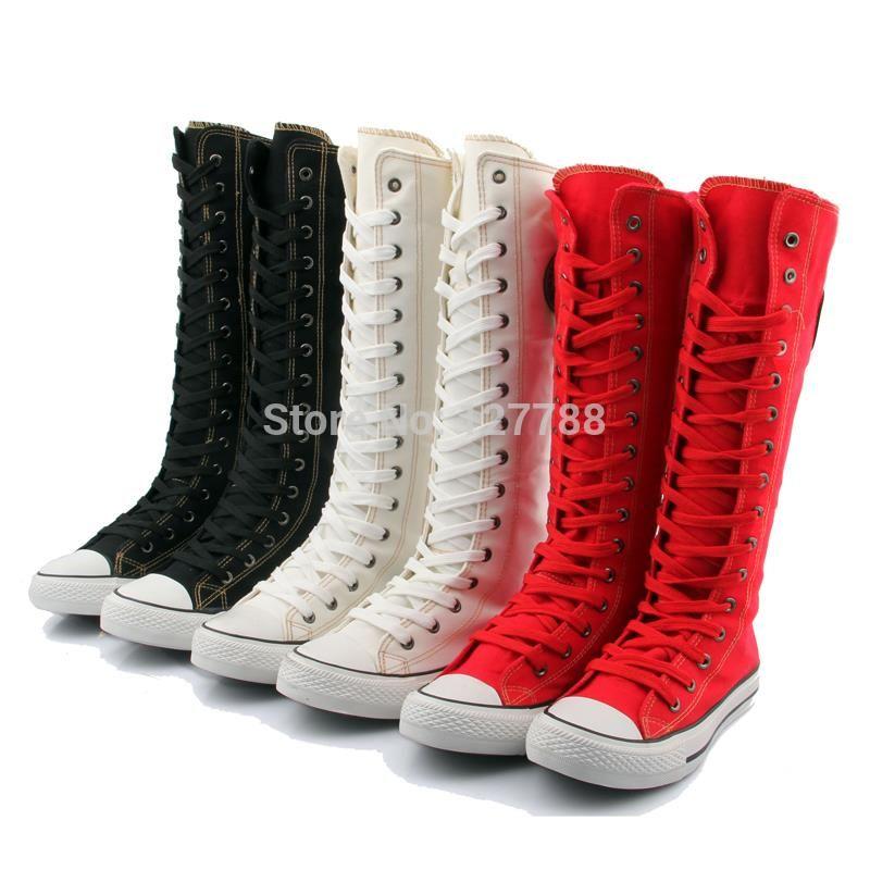 Murah Jual Panas Klasik Sepatu Kanvas Wanita Tinggi Atas Sepatu