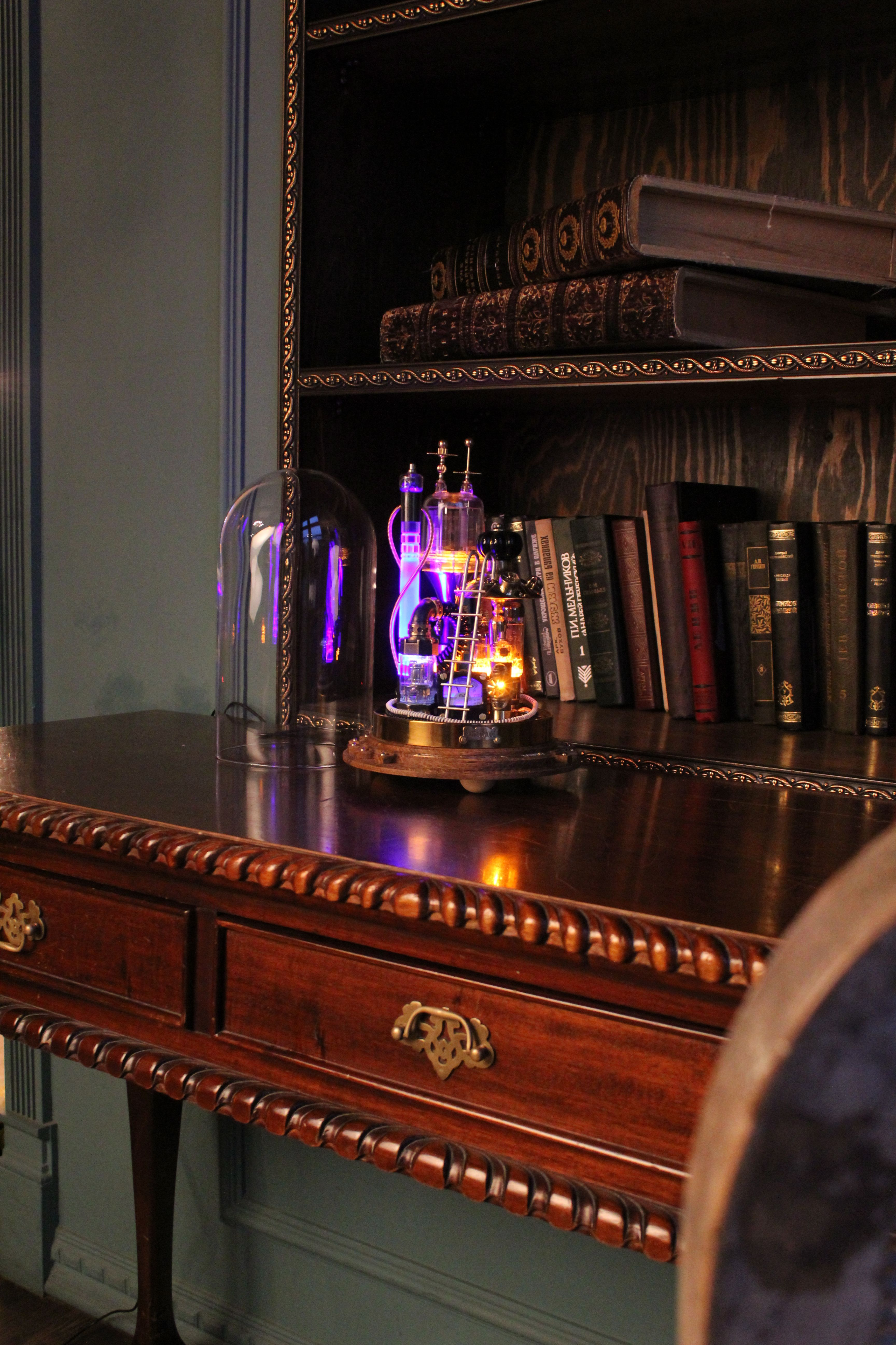 Steampunk lamp Benjamin. desk lamp steampunk style on a stand ...