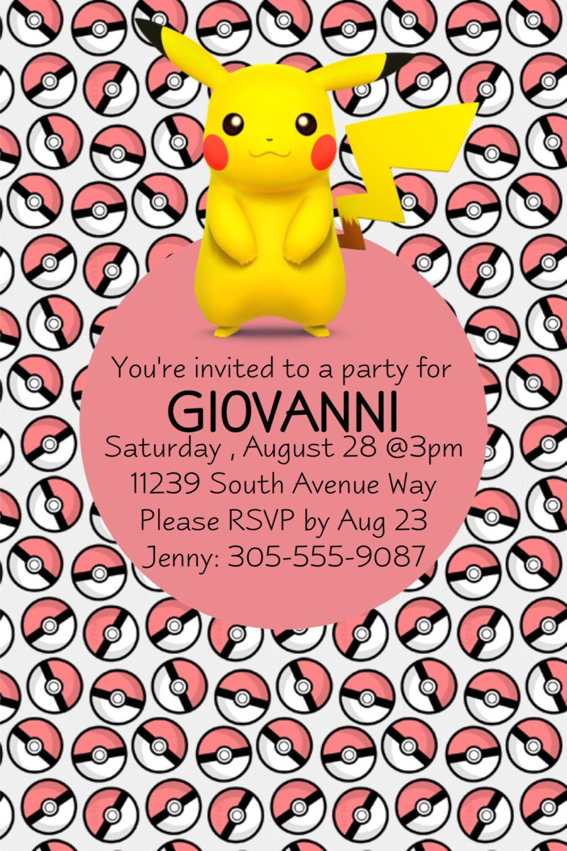 Pokemon Invitations Pikachu Party Go Pokeballs