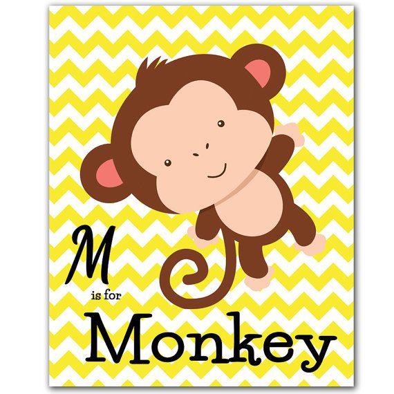 Monkey Letter M Printable Jungle Animal Children\'s Art Alphabet Wall ...